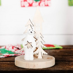 Wooden Polarbear and Star Decoration