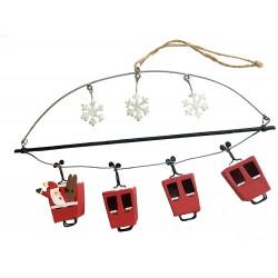 Santa's Ski Gondola Hanging Decoration