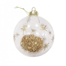 Glitter Bauble with Gold Stars