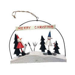Skiing Santa & Snowman Christmas Decoration