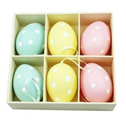 Six Polka Dot Easter Egg Decorations