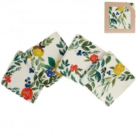Floral Berries Coasters - Pack of 4