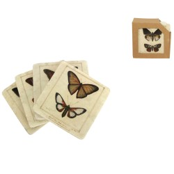 Vintage Butterfly Coasters - Pack of 4