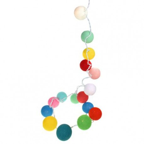 Multi-coloured Cotton Ball String Lights
