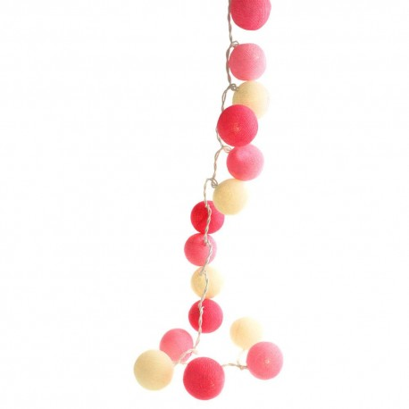 Pink Cotton Ball String Lights