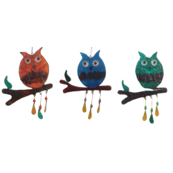 Red / Green / Blue Resin Hanging Owl Sun Catcher