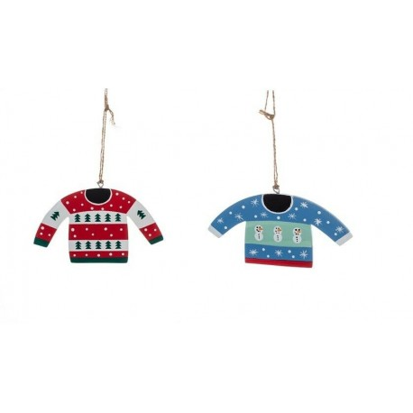 Two Scandi Christmas Jumper Hanging Decorations