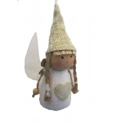 Nordic Angel Girl with Plaits Christmas Tree Decoration