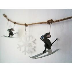 Grey Ski Rabbit and White Snowflake Christmas Garland