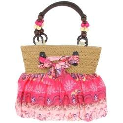 Pink Fabric Bow Shoulder Bag/ Handbag