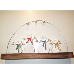Snowmen Family of Four with Hanging Snowflakes