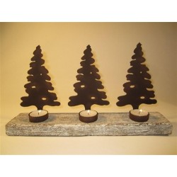 Row of 3 Christmas Tree Silhouette Tea Light Display