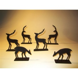 Set of Six Metal Silhouette Table Top Deer