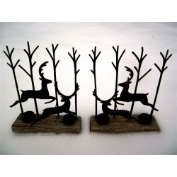 Pair of Black Leaping Deer Silhouette Tea Light Display