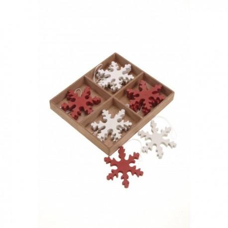 Twelve Nordic Wooden Hanging Snowflakes