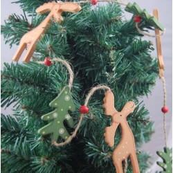 Wooden Brown Reindeer with Tree Garland