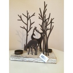 Reindeer Silhouette on Square Wooden Base