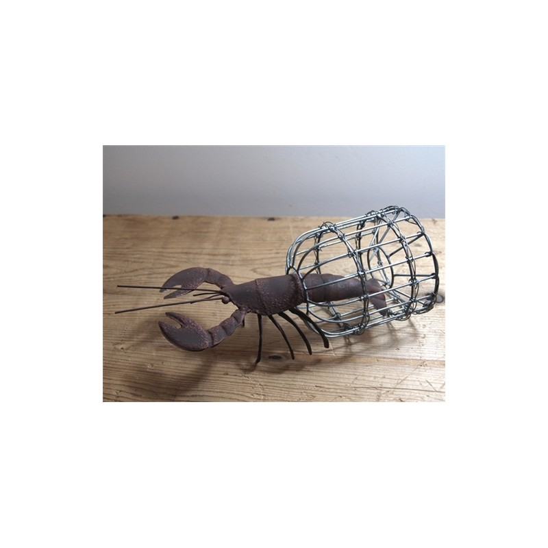 Nautical lionel the lobster ornament with rust finish with lobster pot gift ebay - Trap decor ...