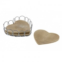 Four Wooden Coasters In Wire Heart Case