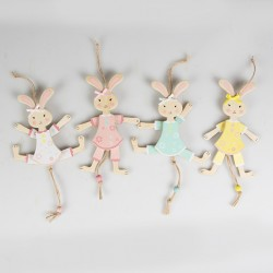 Four Pastel Easter Bunny Pull Along Hanging Decorations