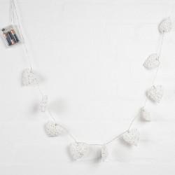 String of 10 White Rattan Heart Fairy Lights