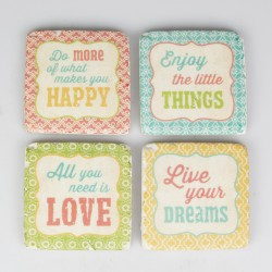 Four Moroccan Expression Tile Coasters