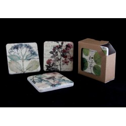 Set 4 Antiqued Pressed Flower Print Coasters