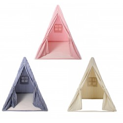 Multi-Stripe Wigwam Play Tent  sc 1 st  Shabby Chicken & Navy Blue Rose Pink or Beige Teepee Style Wigwam Tent by Win Green