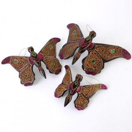 Set of Three Wooden Butterflies