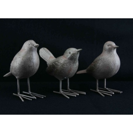Set of Three Natural Textured Birds