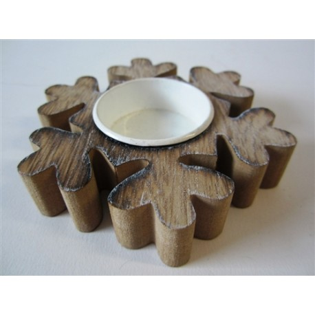 Wooden Snowflake Tea Light Holder