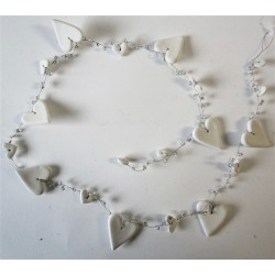 White Hearts and Beads Garland