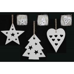 White Bisque Ceramic Heart /Star /Tree Ornament